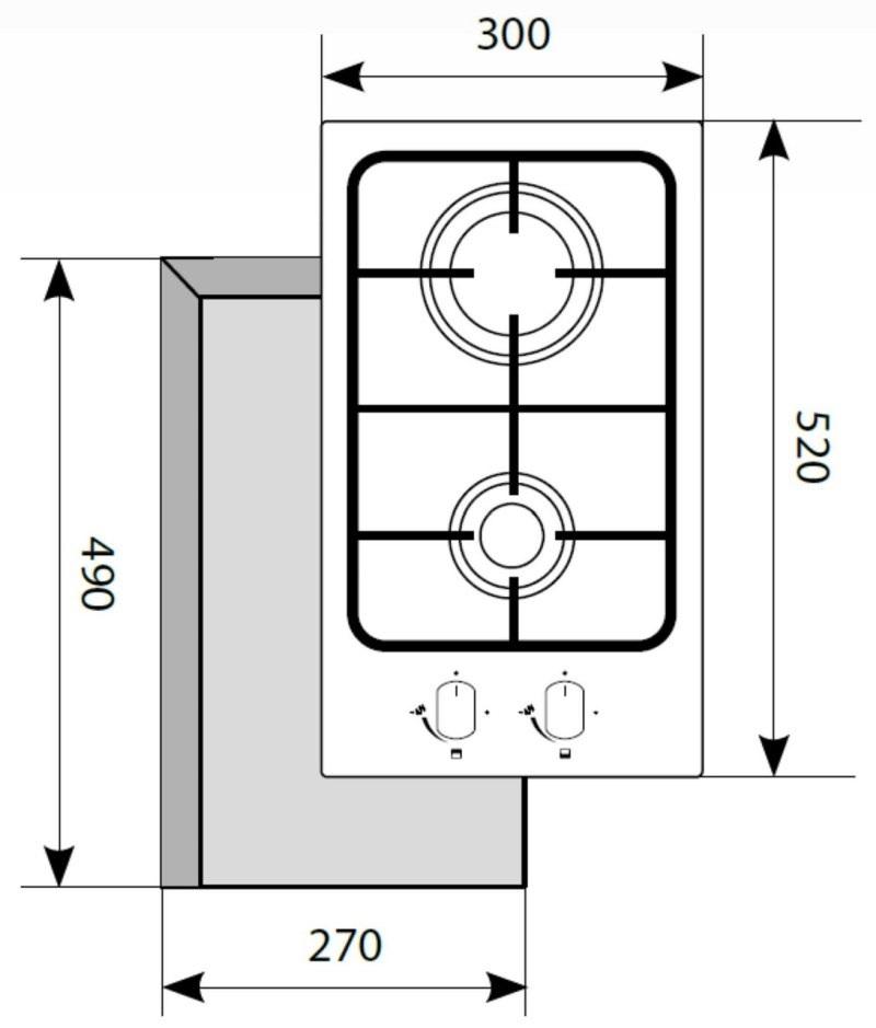 Газовая варочная поверхность LEX GVS 320 IX-2