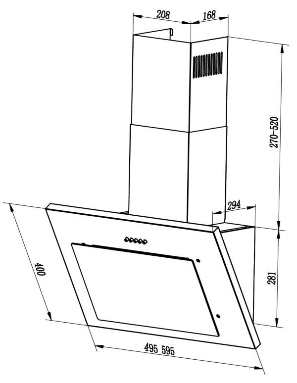 Наклонная вытяжка  MIKA 500/600 BLACK-2