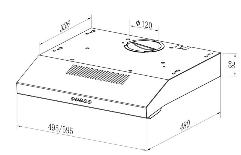 Подвесная вытяжка  S 500/600 INOX-2