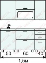 Кухня комплект с горизонтальными  витринами 1500 мм (2)