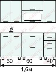 Кухня комплект с горизонтальными  витринами 1600 мм (2)