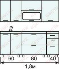 Кухня комплект с горизонтальными  витринами 1800 мм (2)