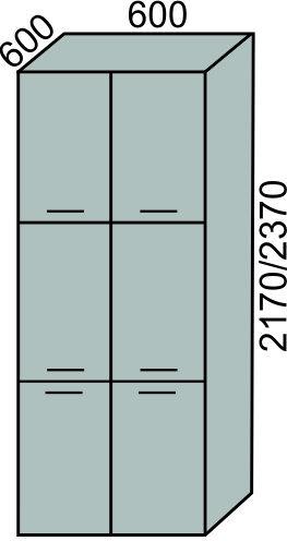 Пенал 6 дверей 600мм в 2170мм (2)