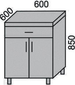 Стол с 1 ящиком и дверьми 600мм (2)