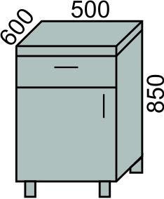 Стол с 1 ящиком и дверью 500мм (2)