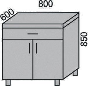 Стол с 1 ящиком и дверьми 800мм (2)
