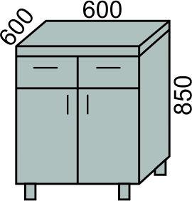 Стол с 2 ящиками и дверьми 600мм (2)