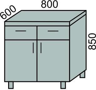 Стол с 2 ящиками и дверьми 800мм (2)