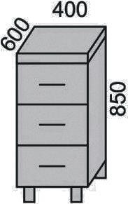 Стол с 3 ящиками 400мм(2)