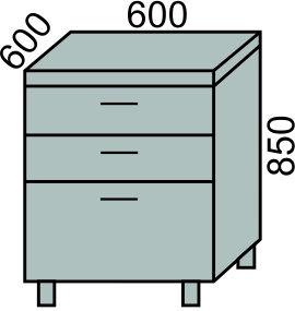 Стол с 3 ящиками 600мм(2)