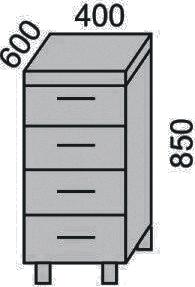 Стол с 4 ящиками 400мм(2)