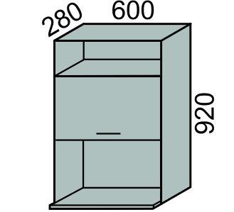 Шкаф горизонтальный с полкой под МВ 600х920 с нишей (2)
