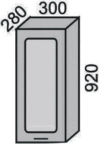 Шкаф-витрина 300х920мм (2)