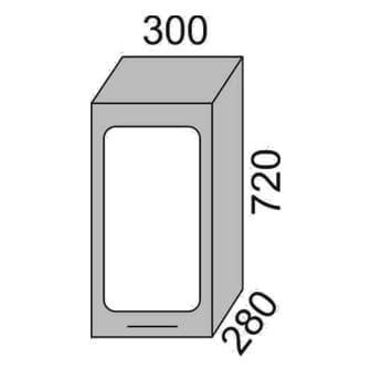 Шкаф-витрина 300мм (2)