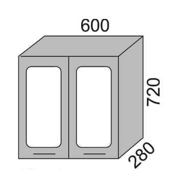 Шкаф-витрина 600мм (2)