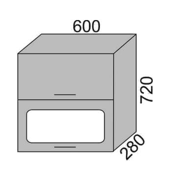 Шкаф-витрина горизонтальный с сушкой 600мм (2)