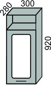 Шкаф-витрина 300х920мм с нишей (2)