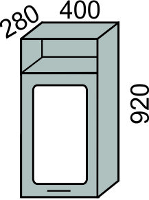 Шкаф-витрина 400х920мм с нишей (2)