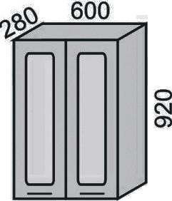 Шкаф-витрина с сушкой 600х920мм (2)