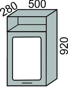Шкаф-витрина с сушкой 500х920мм с нишей(2)