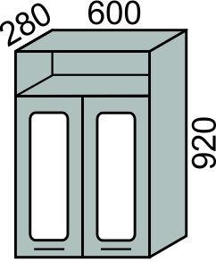 Шкаф-витрина с сушкой 600х920мм с нишей(2)