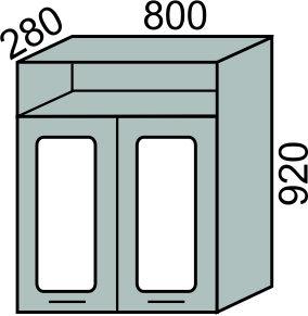Шкаф-витрина с сушкой 800х920мм с нишей(2)