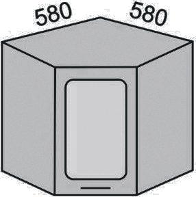 Шкаф угловой с витриной 580мм (2)