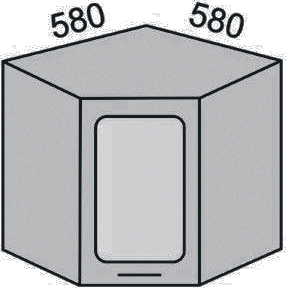 Шкаф угловой с витриной 580-920мм (2)