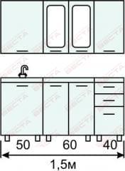 Кухня комплект с вертикальными  витринами 1500 мм (2)