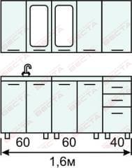 Кухня комплект с вертикальными  витринами 1600 мм (2)
