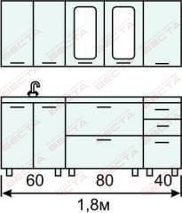 Кухня комплект с вертикальными  витринами 1800 мм (2)