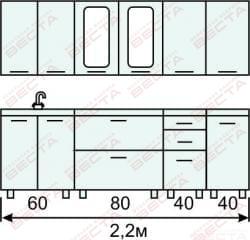 Кухня комплект с вертикальными  витринами 2200 мм (2)