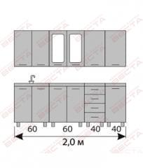 Кухня комплект с вертикальными  витринами 2000 мм (2)