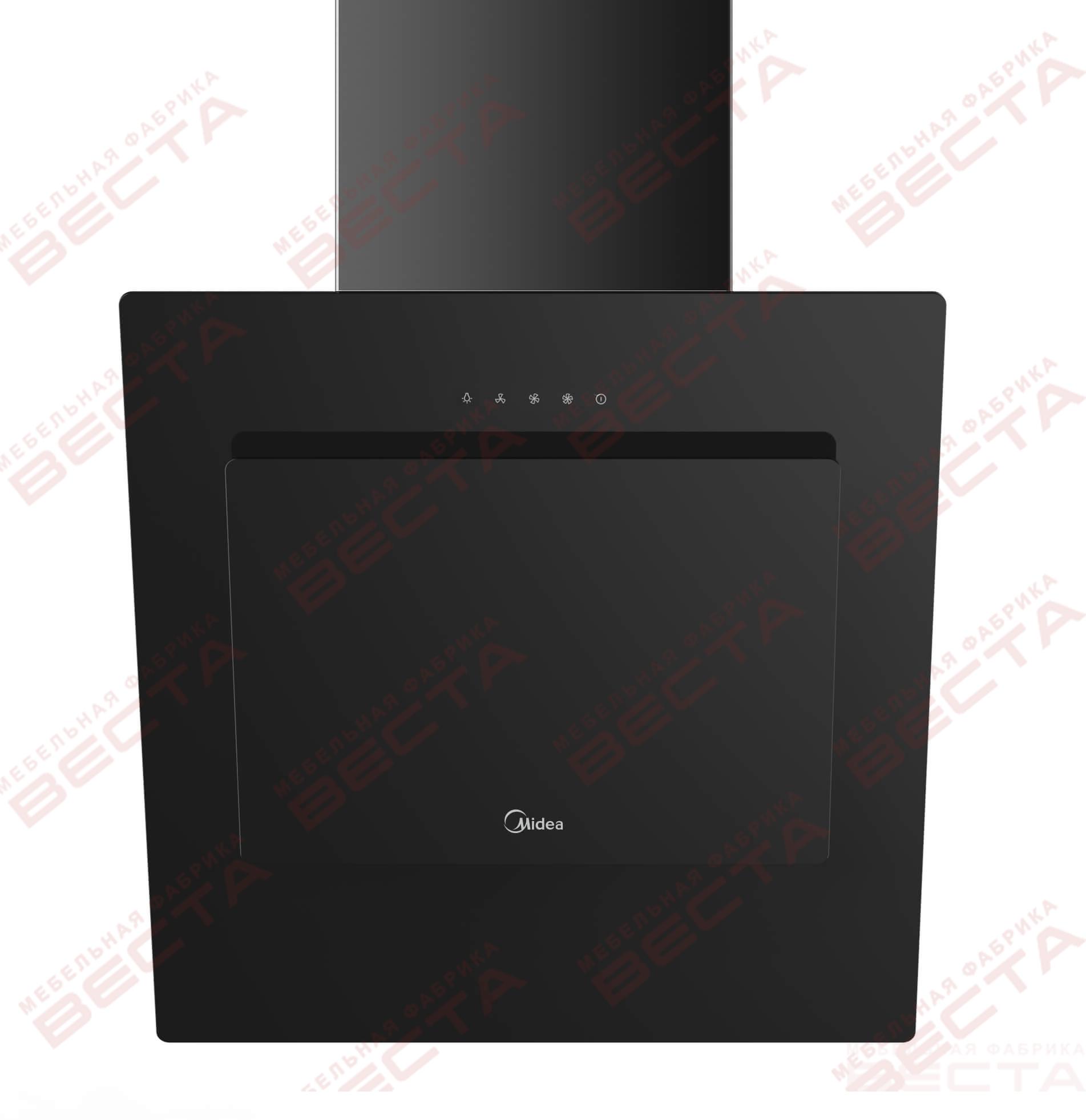 Вытяжка наклонная MIDEA MH60AN595GB, 60 см, без угольн. фильтра, черный/черное стекло